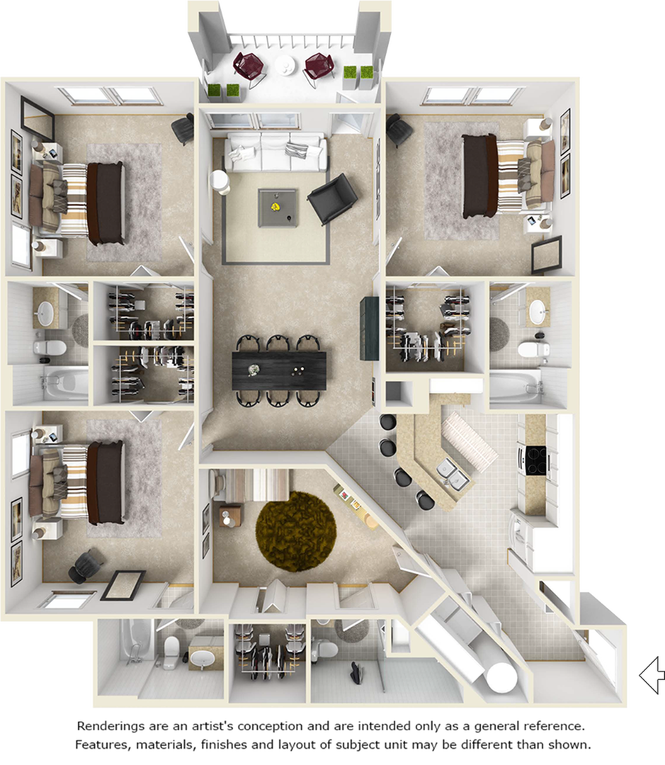 Sanctuary 4 bedrooms 4 bathrooms floor plan