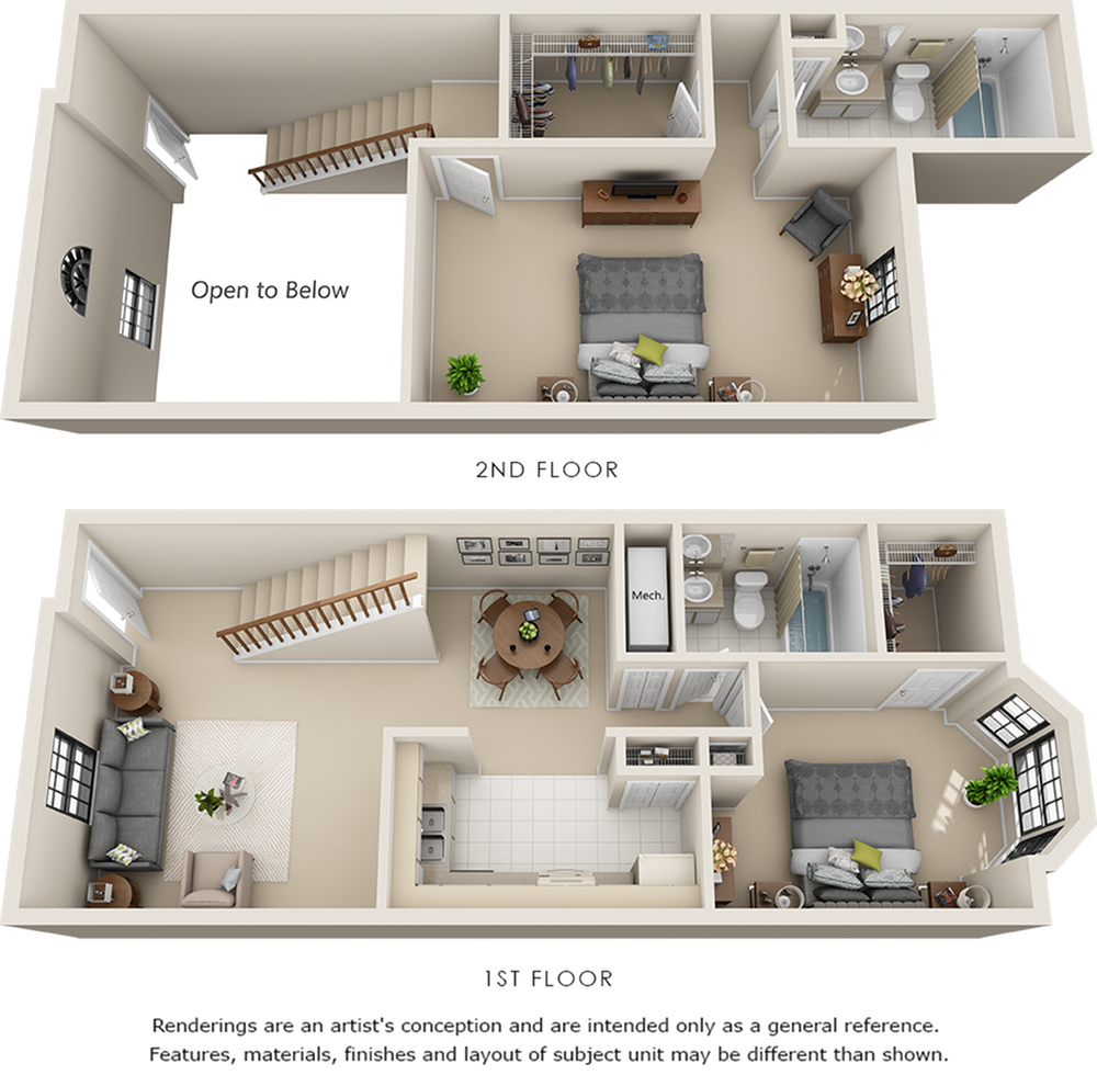 Lenox 2 bedrooms 2 bathrooms floor plan