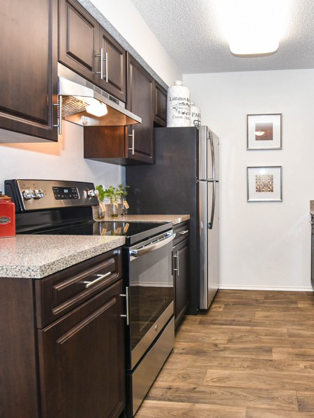 Kitchen with wood floors, dark wood cabinets, stainless steel oven and fridge