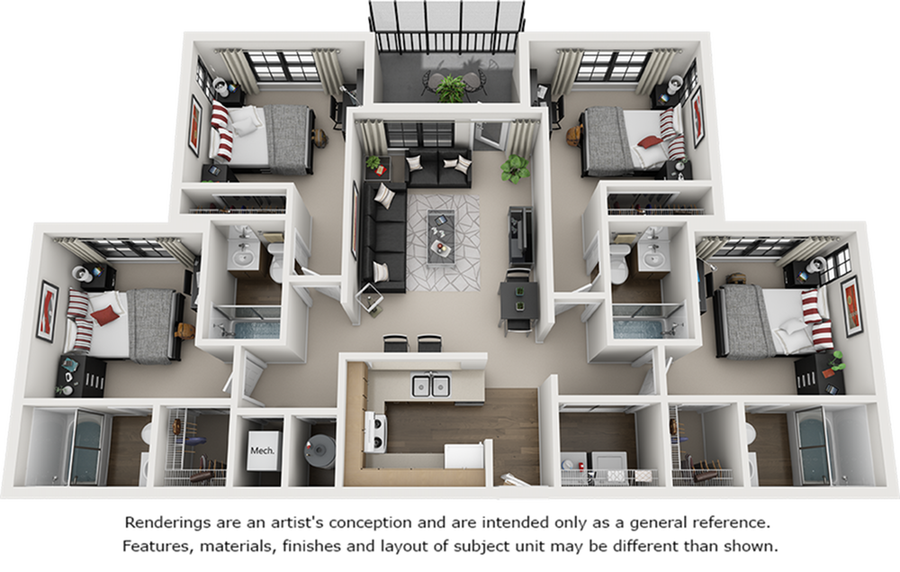 3D Image of the 4 bedroom 4 bathroom floor plan.