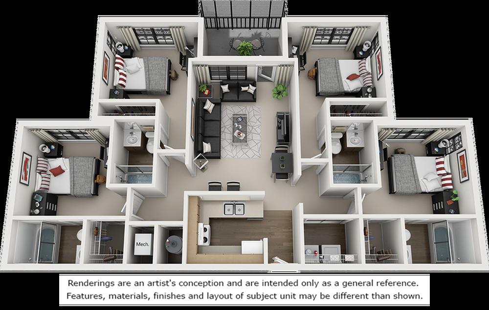 3D Image of the 4 bedroom 4 bathroom floor plan.