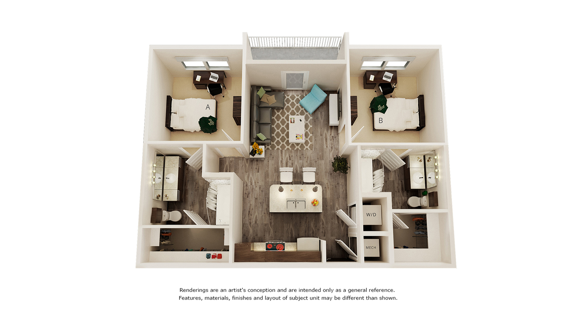 Einstein 2 bedrooms 2 bathrooms floor plan