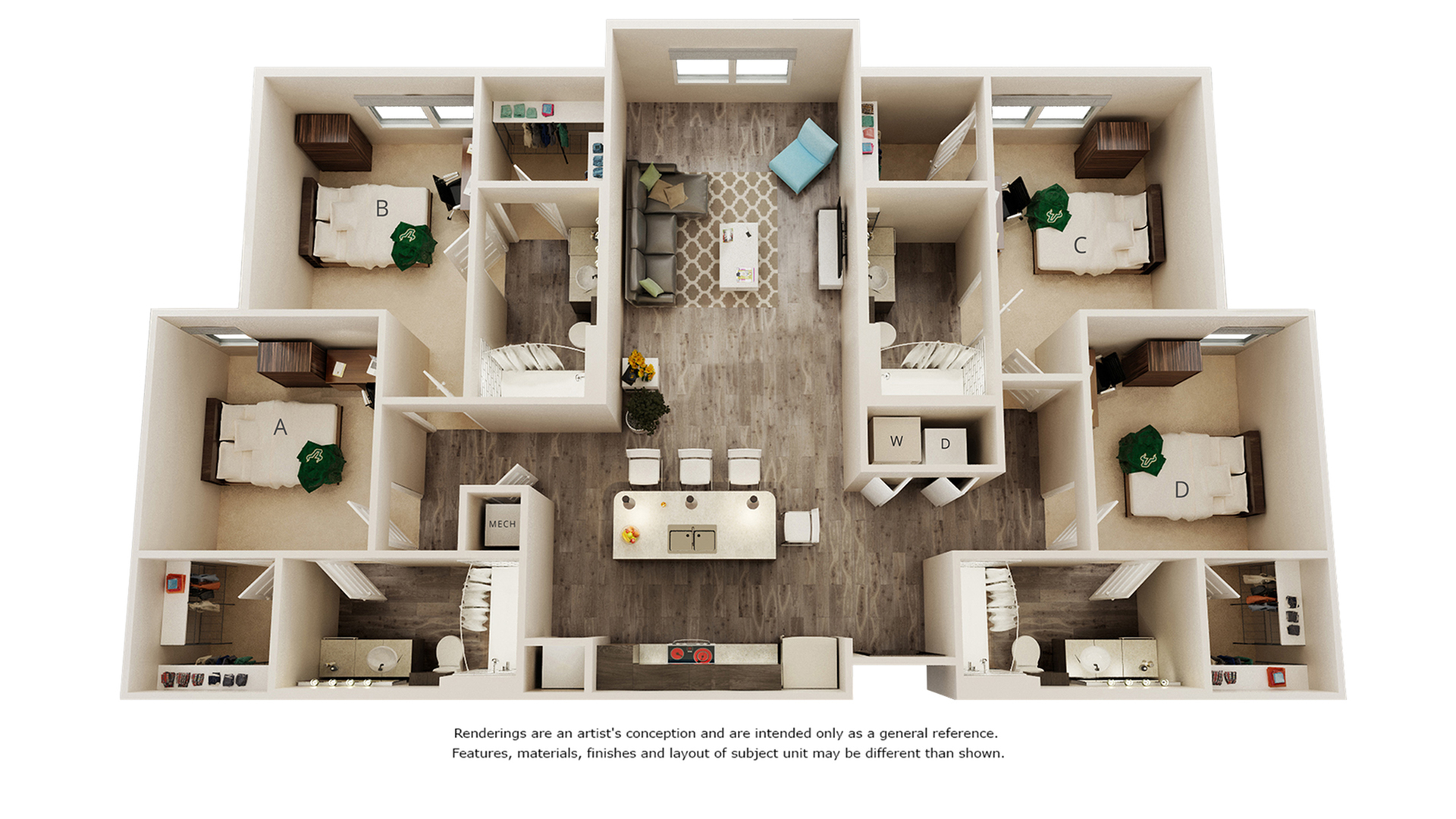 Nobel 4 bedrooms 4 bathrooms floor plan