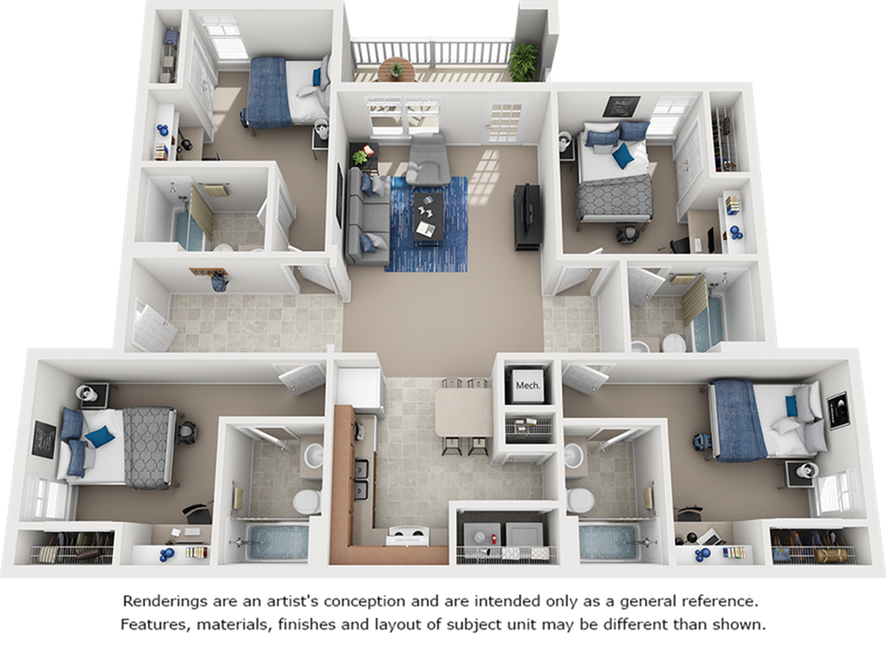 Classic Suite 4 Bedroom 4 Bathroom Floor Plan