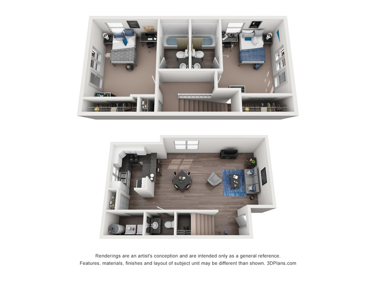 Port 2 bedrooms 2.5 bathrooms floor plan