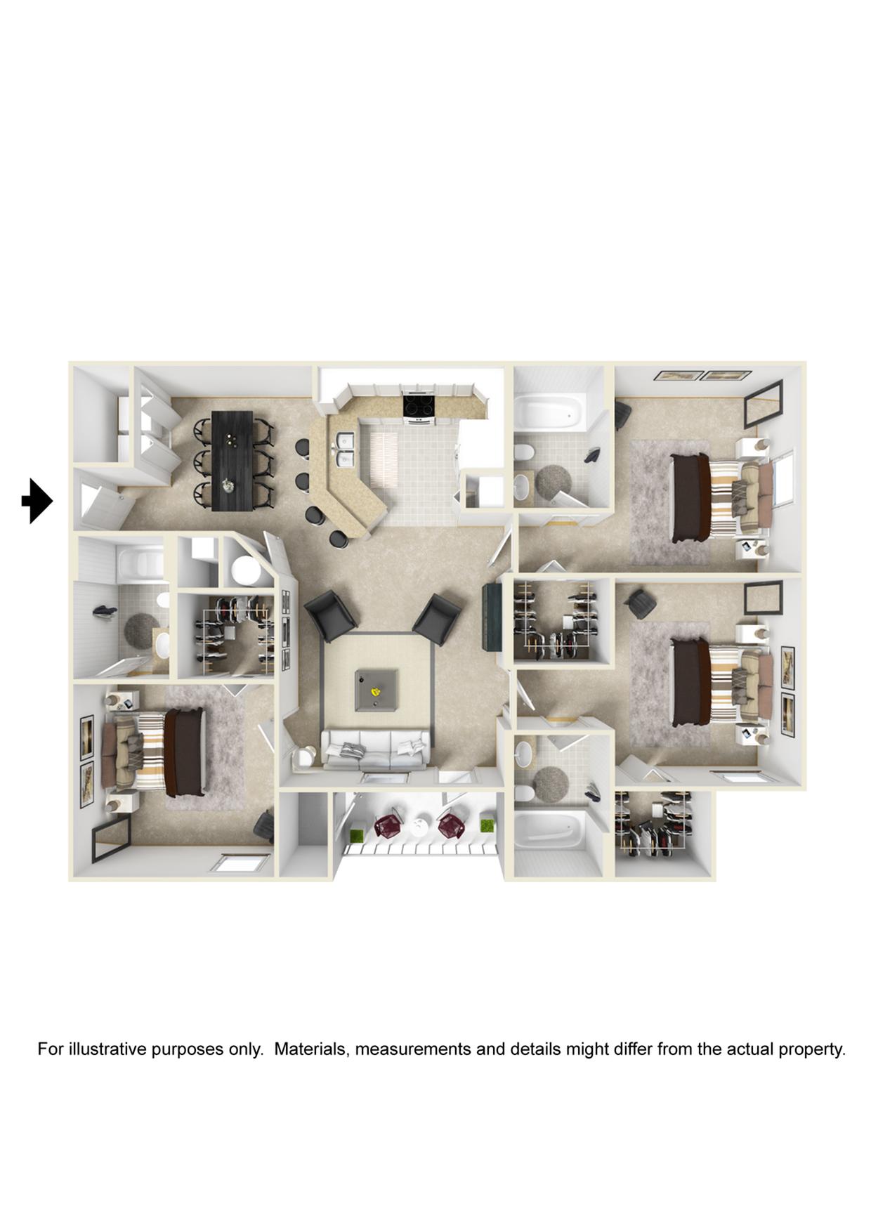 3 Bedroom 3 Bathroom Floor Plan Image of The Jewel