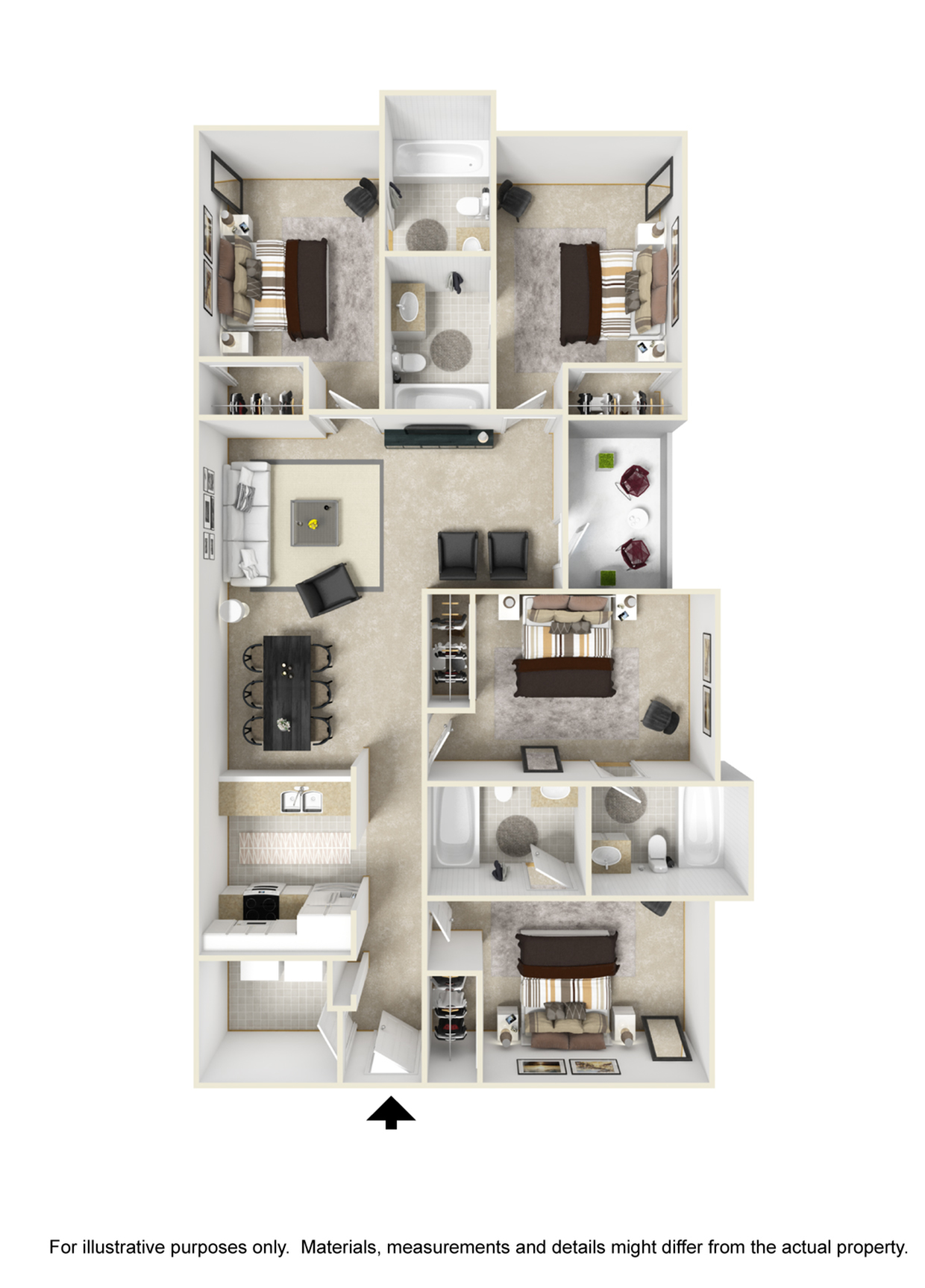 4 Bedroom 4 Bathroom Floor Plan Image of Santa Fe Floor Plan