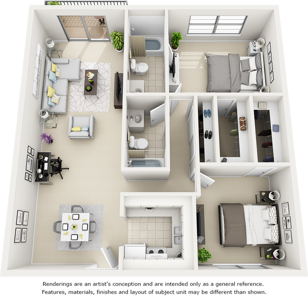 Magnolia floor plan with two bedrooms and 2 bathrooms.