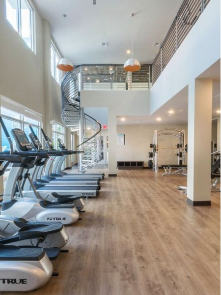 2 story gym with treadmills and various exercising machines
