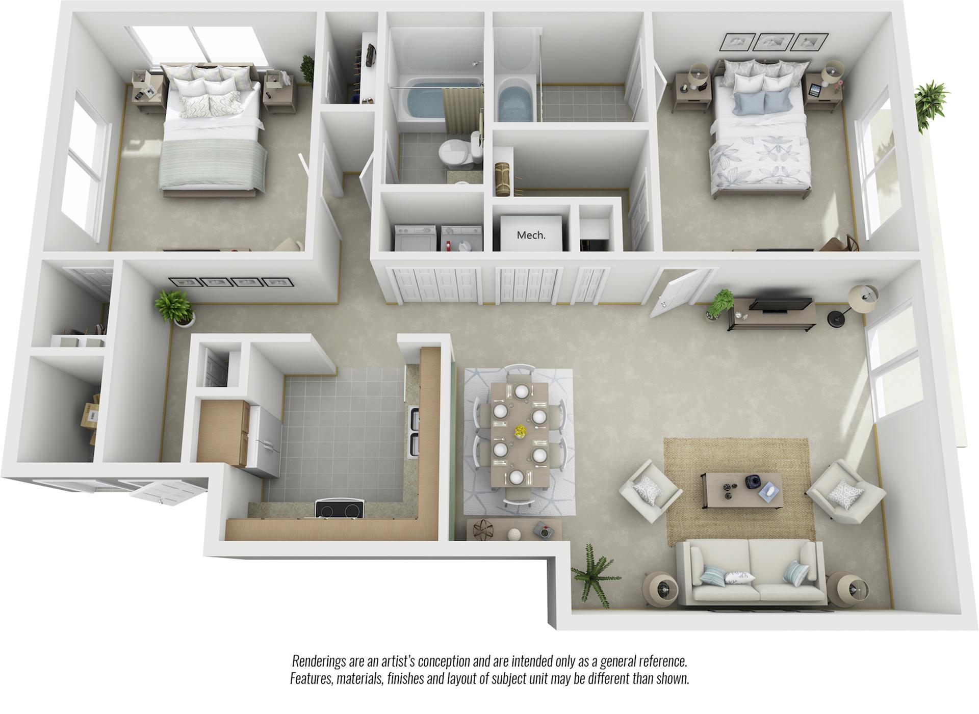 Chestnut 2 bedrooms 2 bathrooms floor plan with premium finishes