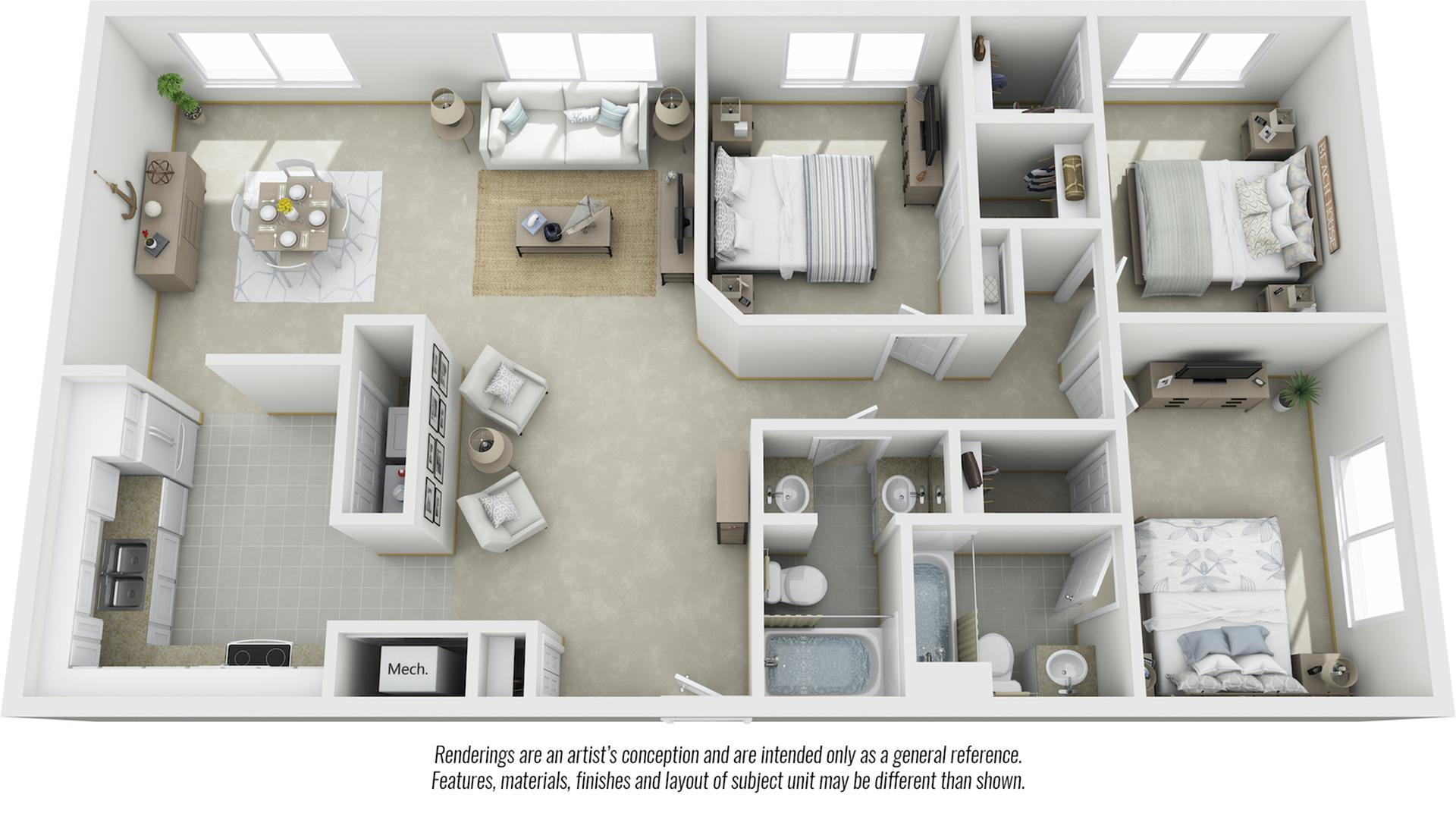 Sequoia 3 bedrooms 2 bathrooms floor plan with premium finishes