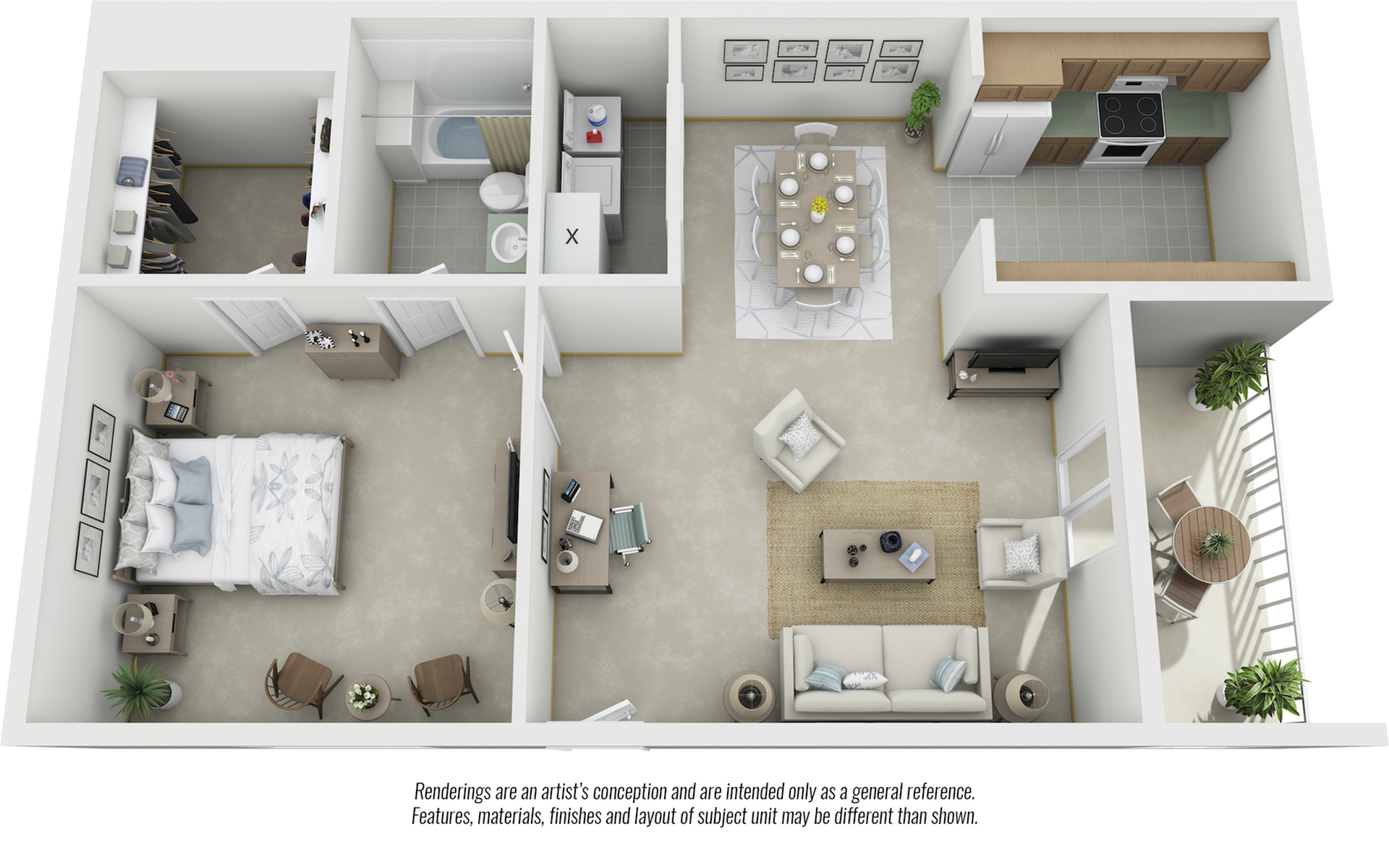 Alpine 1 bedroom and 1 bathroom floor plan