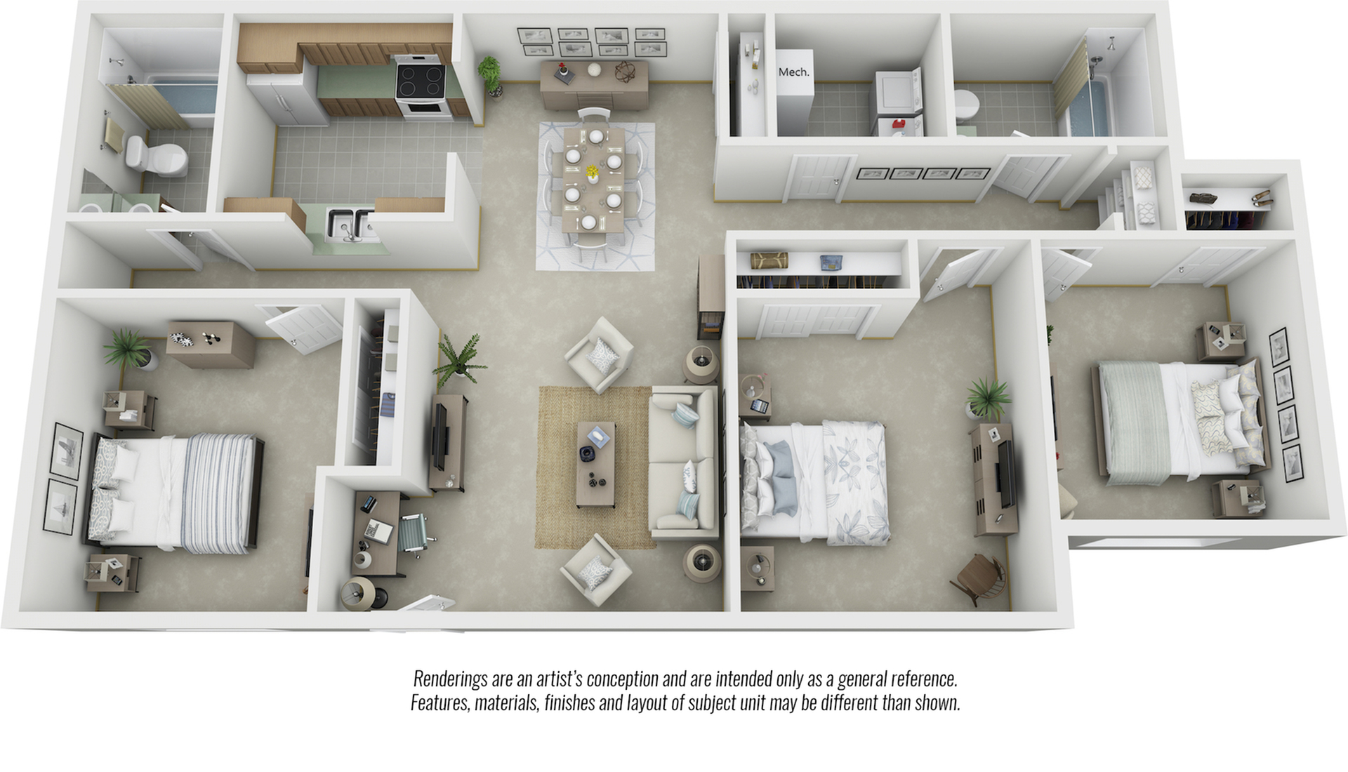 Belmont 3 bedrooms and 2 bathrooms floor plan