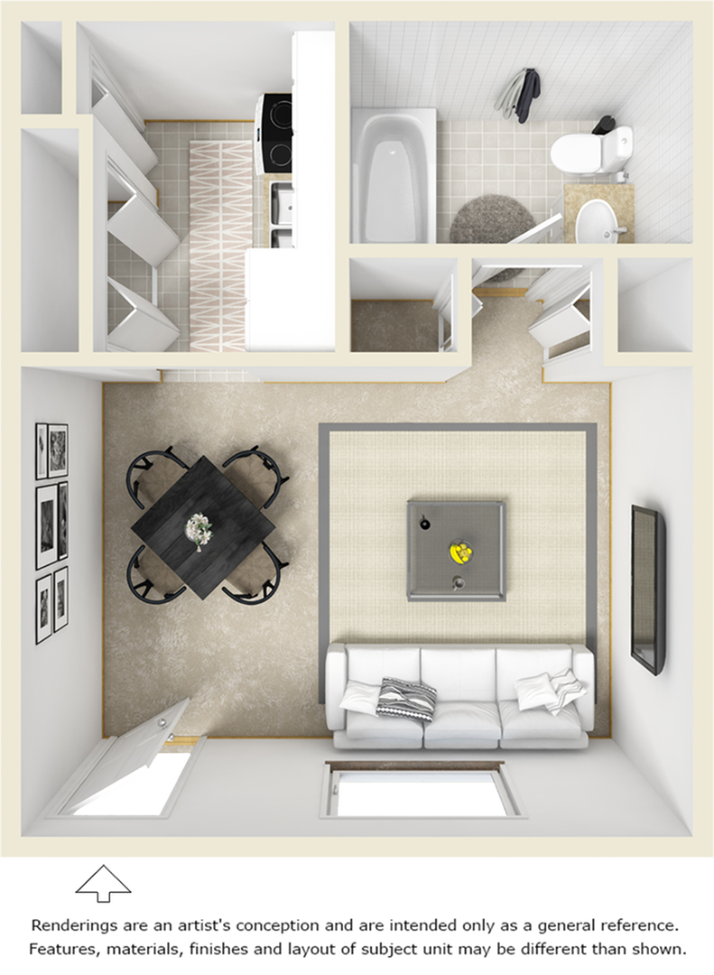 SoHo 1 bathroom studio floor plan