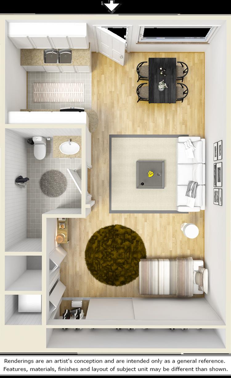 Clinton 1 bathroom studio floor plan
