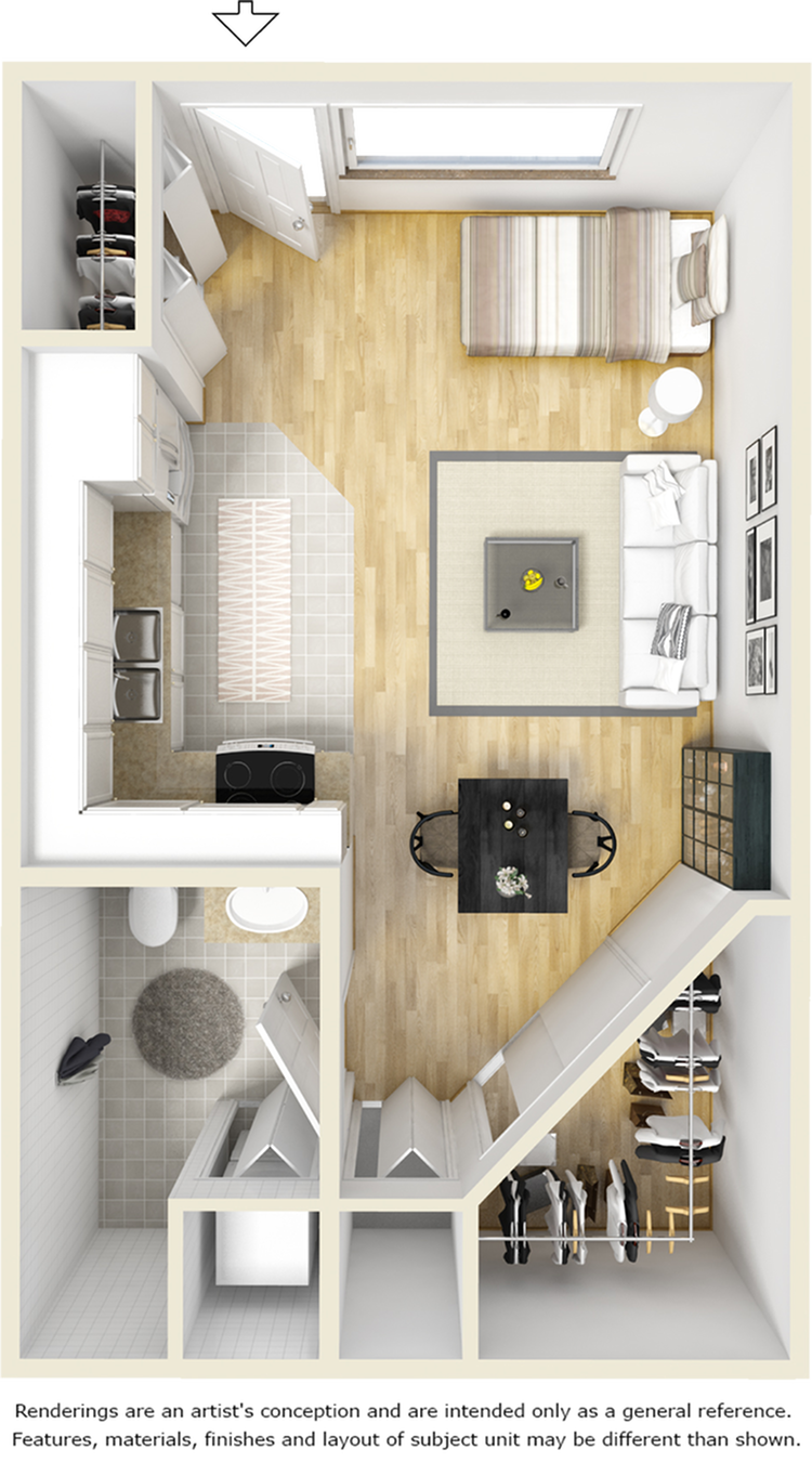 Bedford 1 bathroom studio floor plan