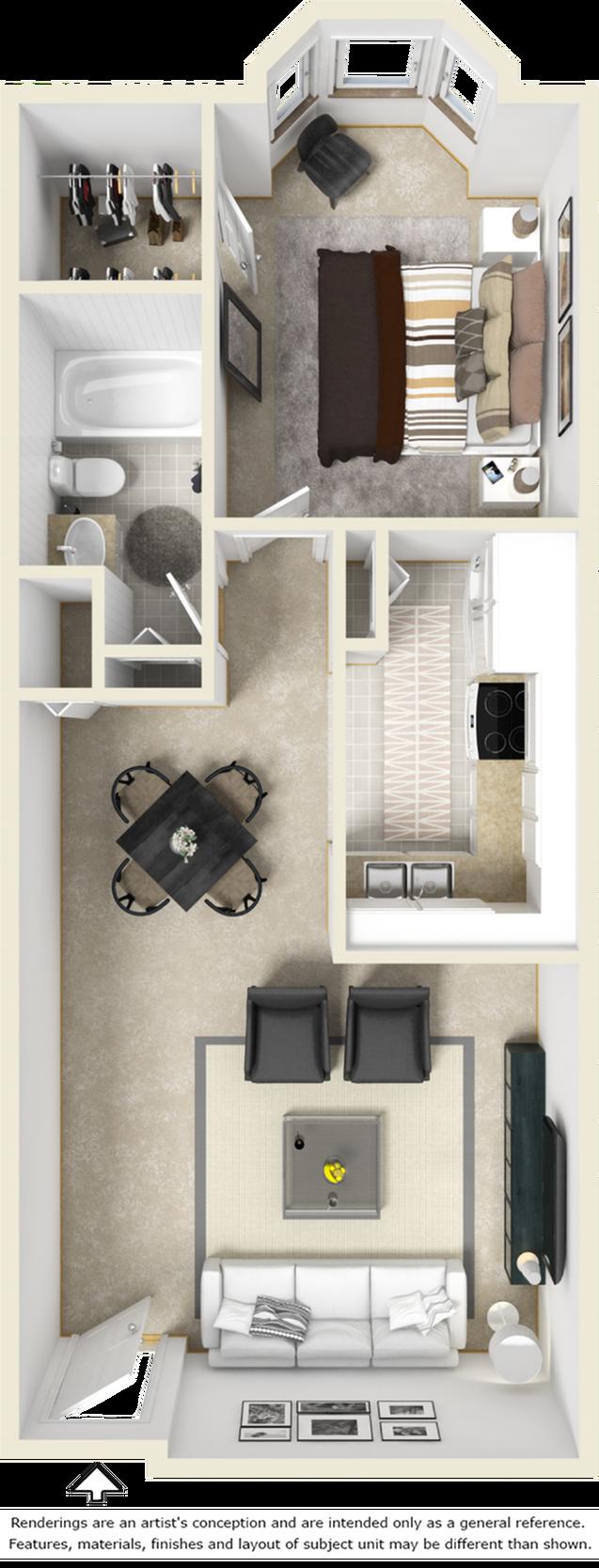 Sutton 1 bedroom 1 bathroom floor plan