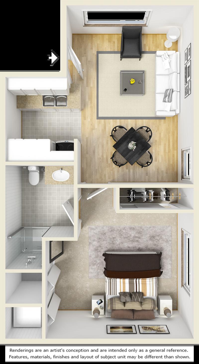Mapleton 1 bedroom 1 bathroom floor plan