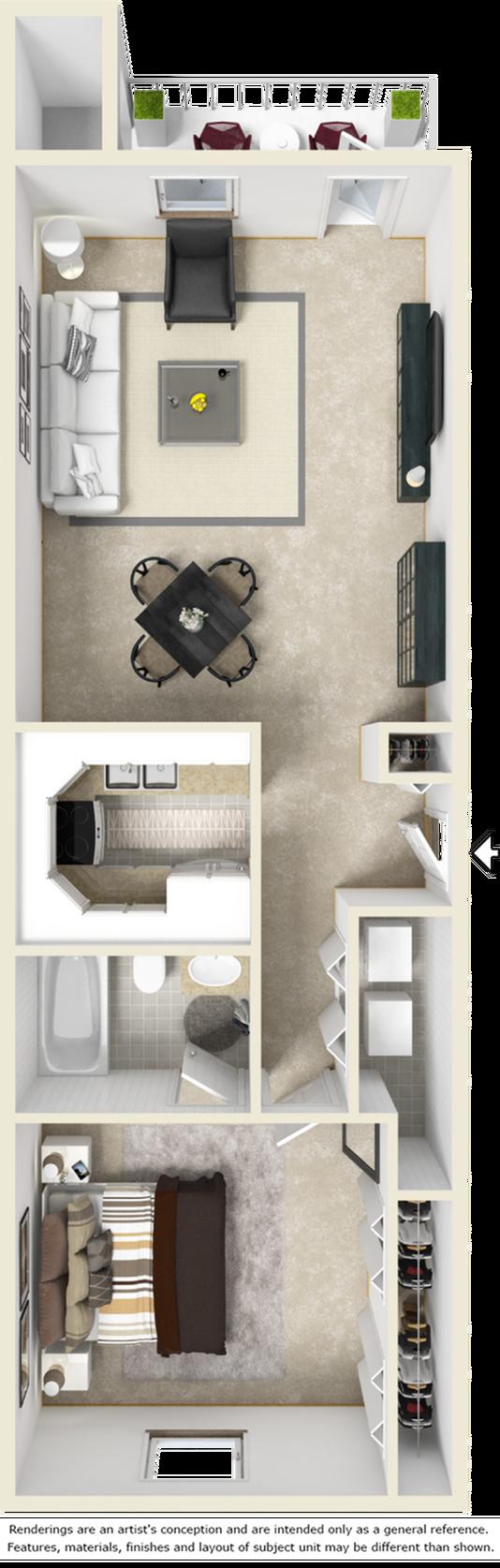 Chelsea 1 bedroom 1 bathroom floor plan