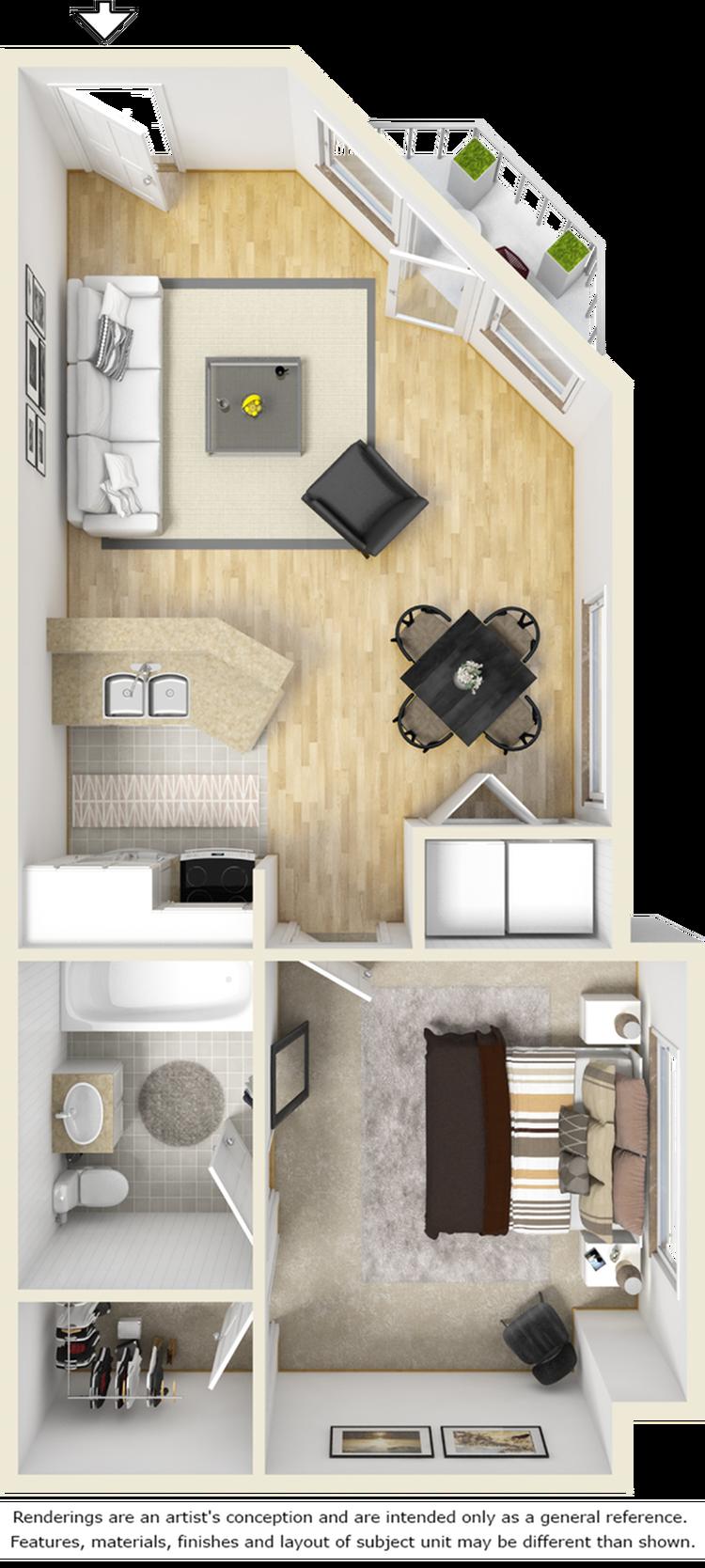 Brighton 1 bedroom 1 bathroom floor plan