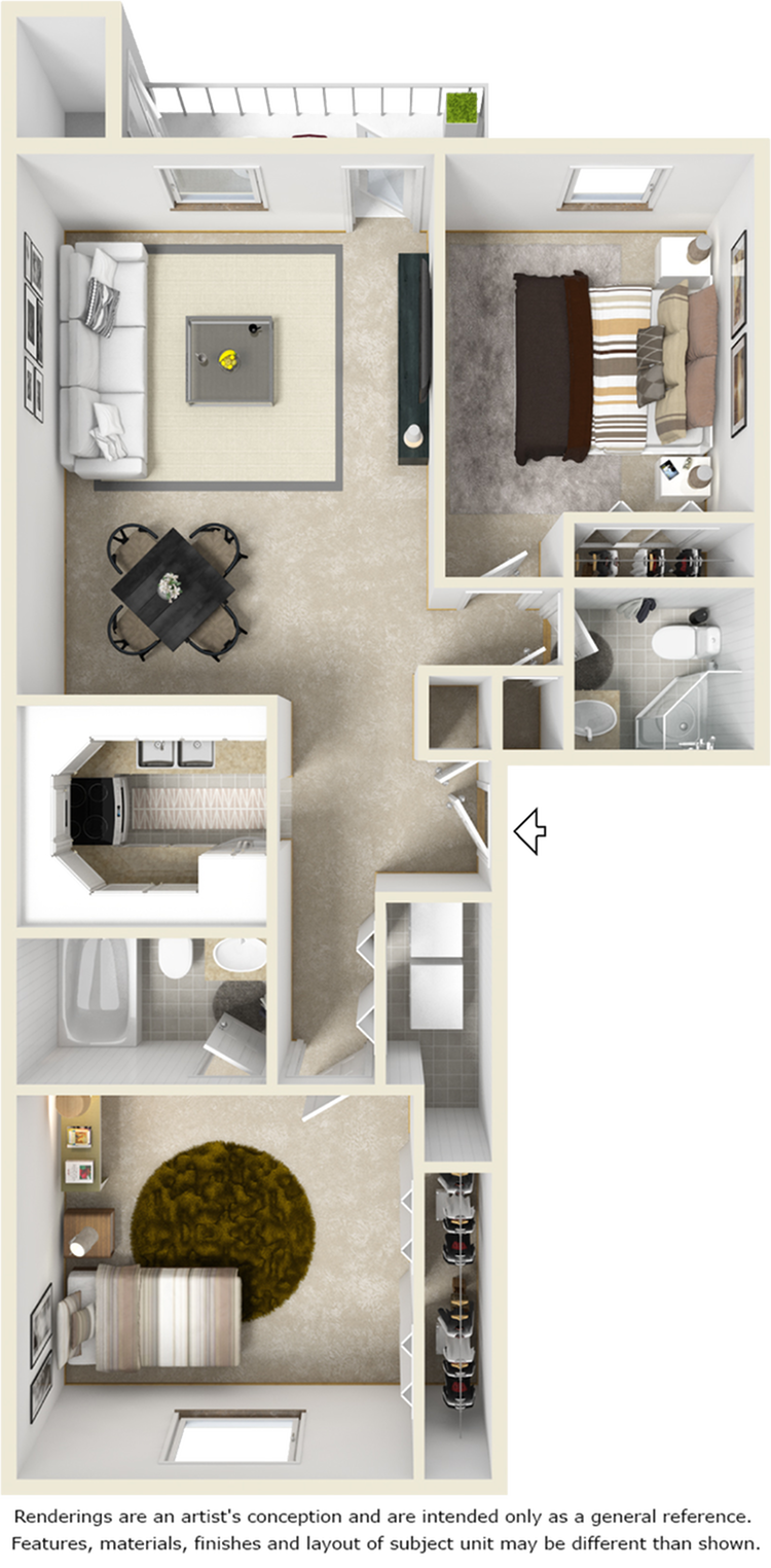 Nolita 2 bedrooms 2 bathrooms floor plan