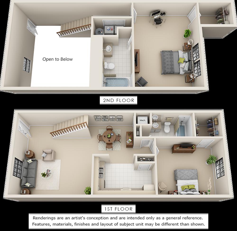 Tribecca 2 bedrooms 2 bathrooms floor plan