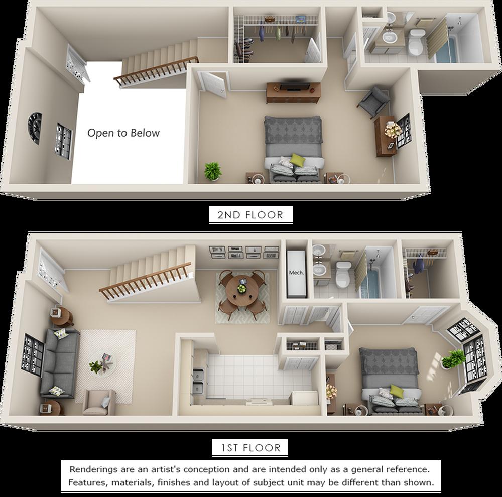 Lenox 2 bedrooms 2 bathrooms floor plan