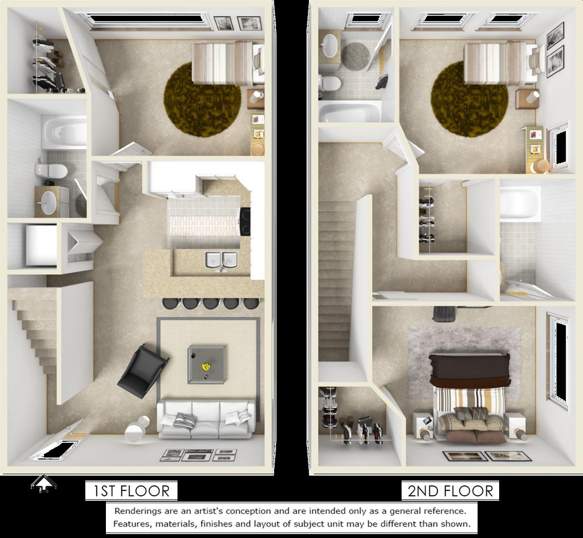 Williamsburg 3 bedroom 3 bathroom floor plan