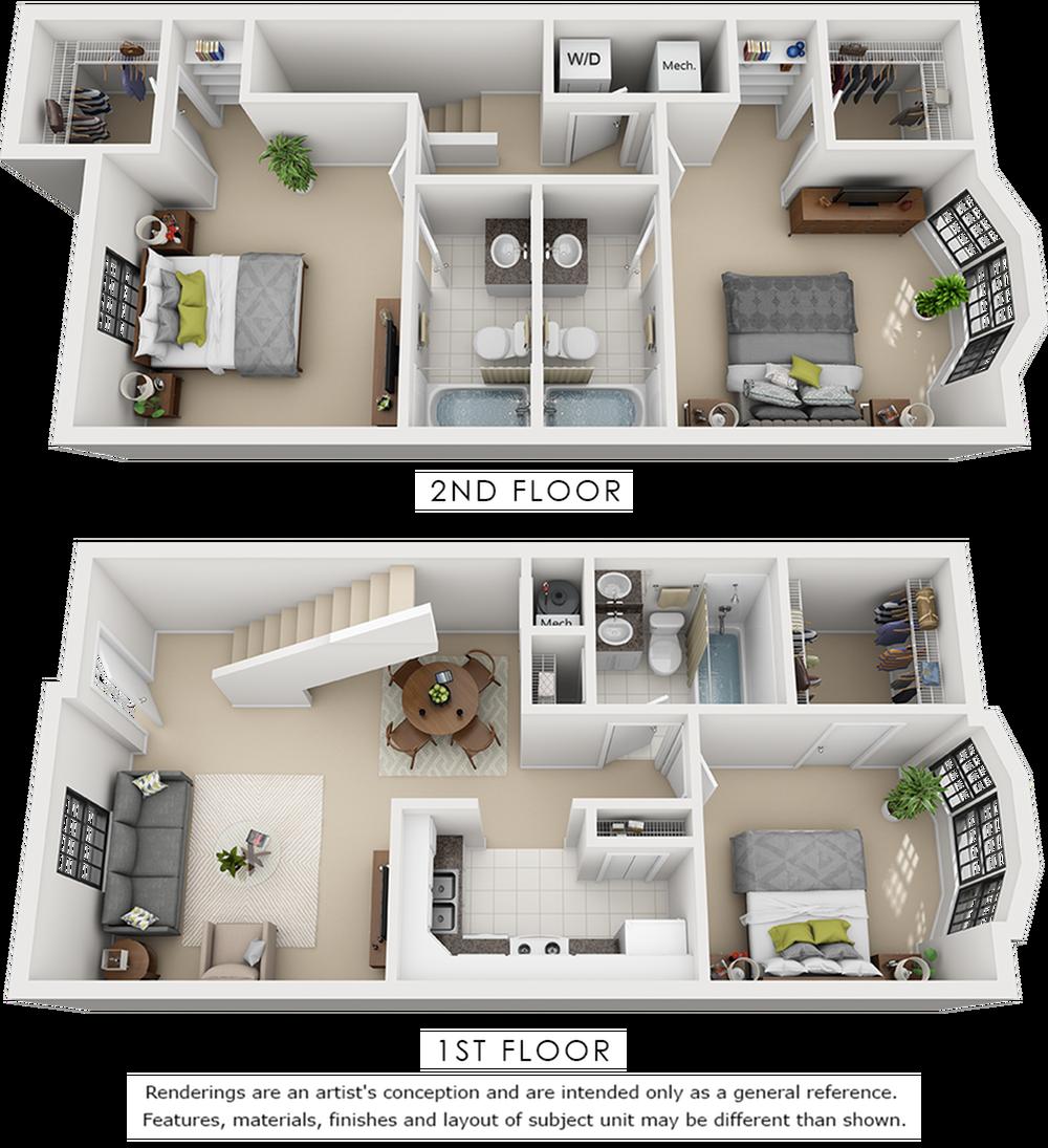Grammercy 3 bedroom 3 bathroom floor plan