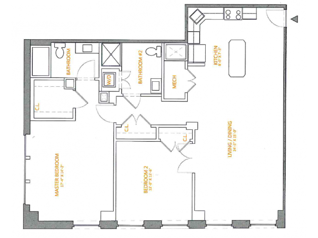 2 Bedroom Floor Plan | The Cliffs