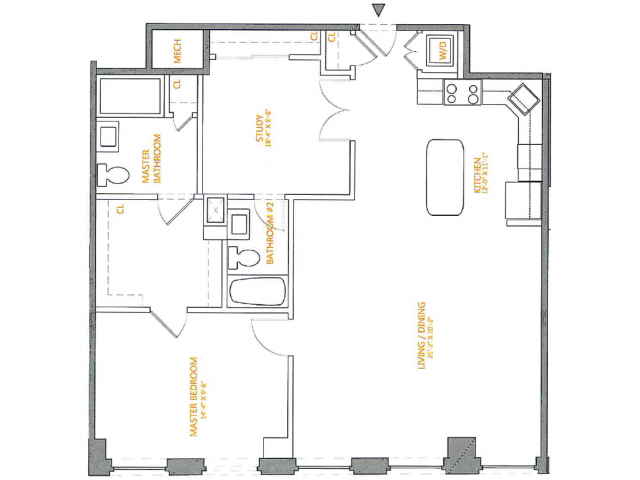 1 Bedroom Floor Plan | The Cliffs