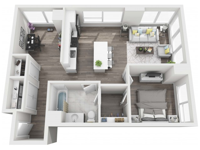 UNIT 01 | 3D FLOOR PLAN