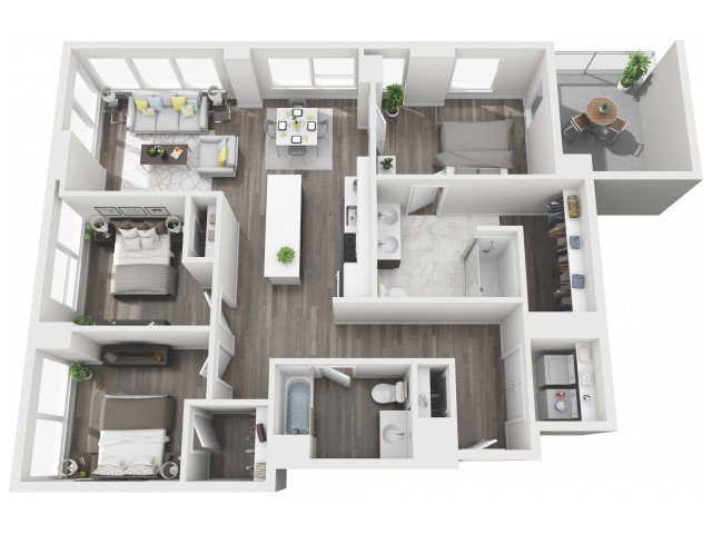 UNIT 01A | 3D FLOOR PLAN