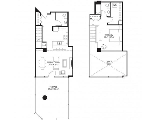 1 Bedroom Townhome Loft