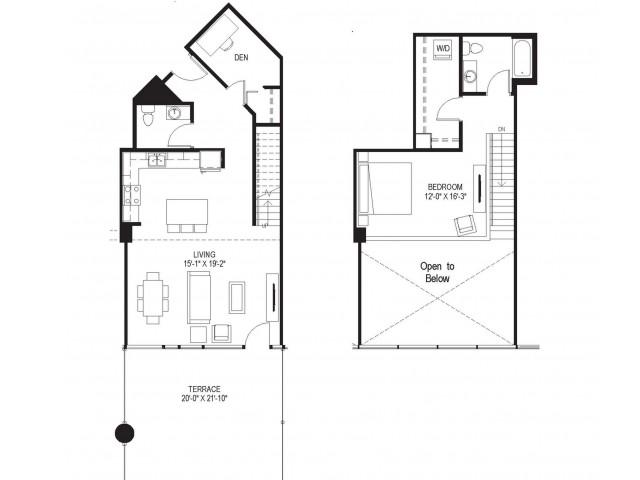 1 Bedroom Townhome Loft w/ Den
