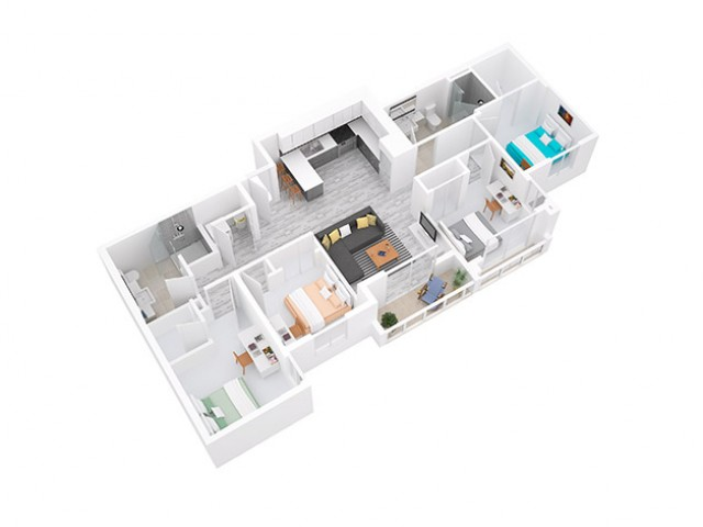 3D Floorplan depicts 4x2 Style A - Fewer than 5 spaces