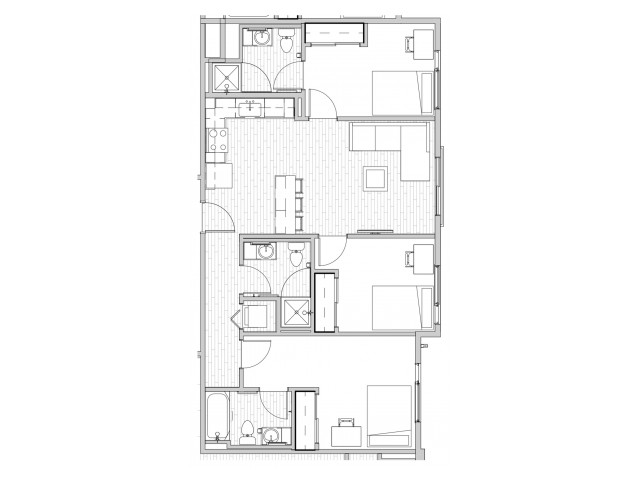 3 Bedroom Floor Plan 1 | Apartments Near Csu | Uncommon Fort Collins