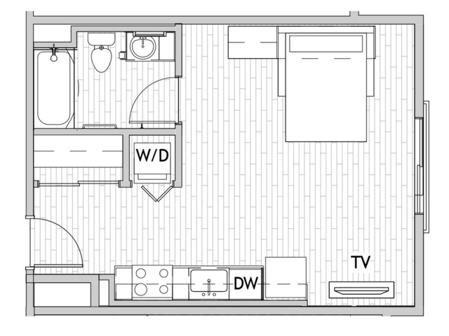 Studio Floor Plan 2 | Csu Off Campus Housing | Uncommon Fort Collins
