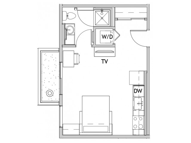 Studio Floor Plan 3 | Csu Off Campus Housing | Uncommon Fort Collins