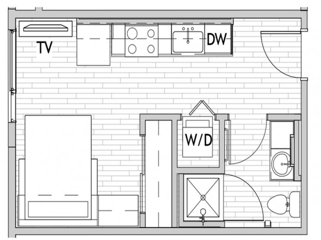 Studio Floor Plan 1 | Csu Off Campus Housing | Uncommon Fort Collins