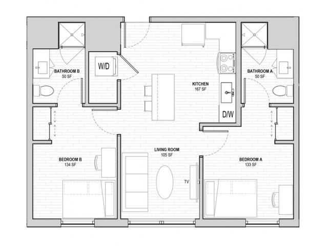 2x2 Penthouse A