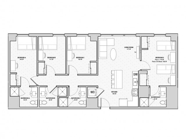 4x4 Penthouse Shared Private A