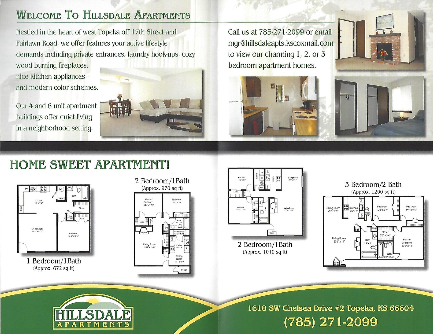Brochure includes info on 1 bed/1 bath, 2 bed/1 bath, & 3 bed/2 bath