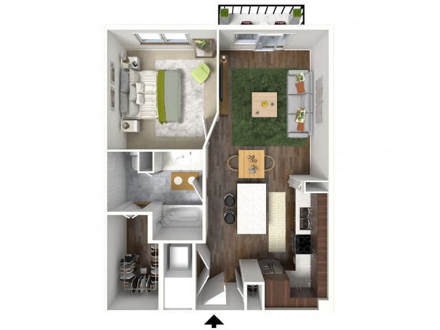 A1 Floorplan (3D) - Example with Furniture