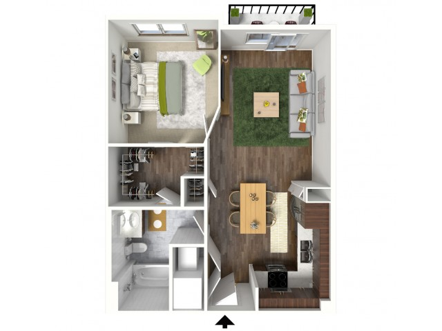A2 Floorplan (3D) - Example with Furniture