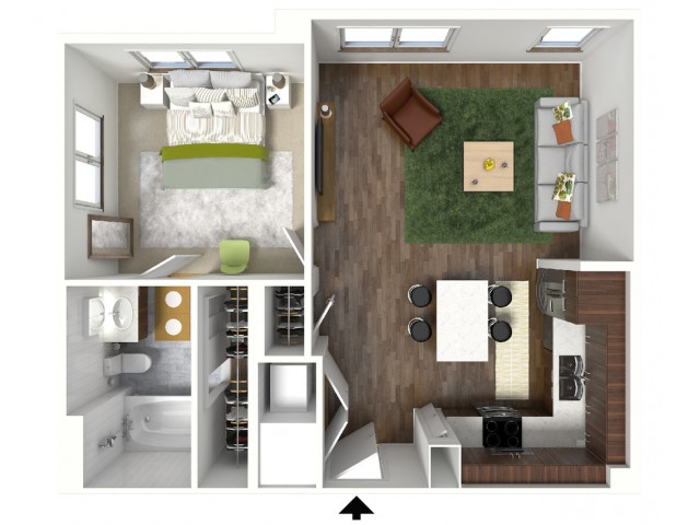 A3 Floorplan (3D) - Example with Furniture