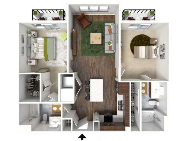 B3 Floorplan (3D) - Example with Furniture