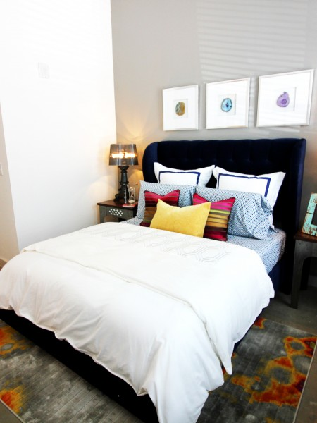Modern Dallas Apartments | LBJ Station | Light-colored bedroom