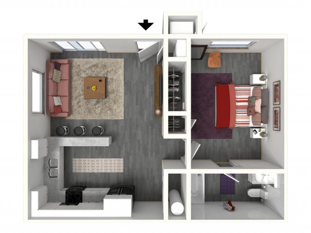 1 Bedroom Floor Plan | UC Davis Apartments | Cottages on 5th