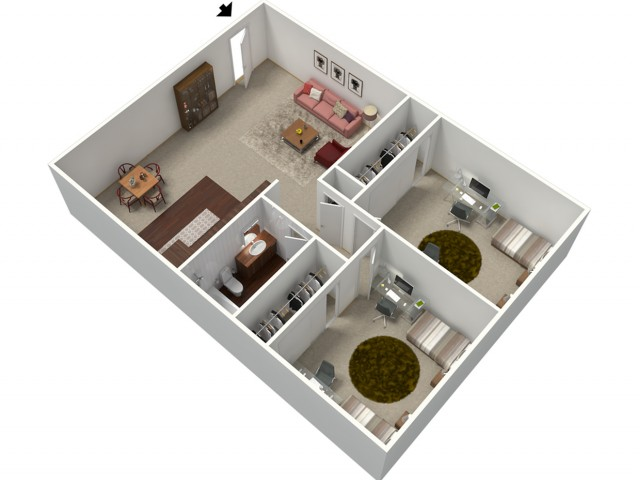 2 Bedroom Floor Plan | Apartments For Rent In Fresno CA | University Place